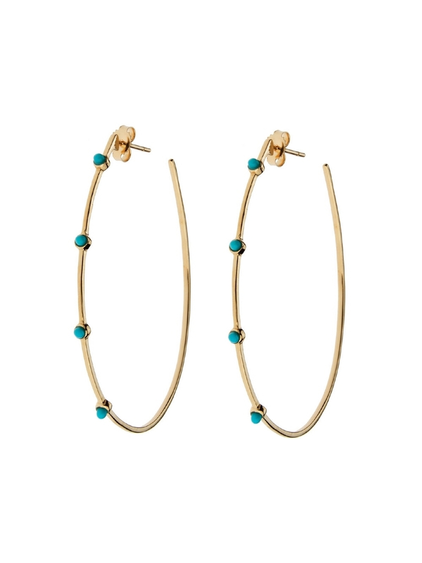Lee Jones Collection Lee Jones Collection Turquoise Stones Teardrop Hoop Earrings - Yellow Gold Jewelry