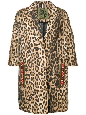 Alessandra Chamonix Cotton Leopard Print Cropped Sleeve Coat Outerwear