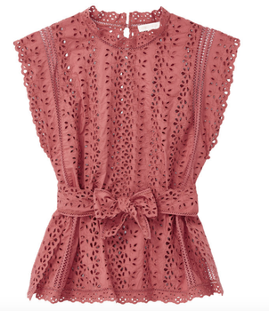 Rebecca Taylor Eyelet Tie Blouse Tops