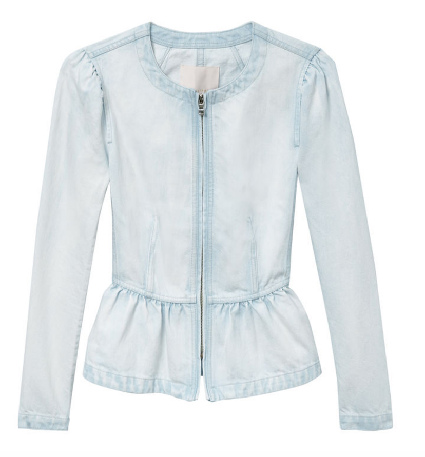 Rebecca Taylor Chambray Zip Up Jacket Outerwear