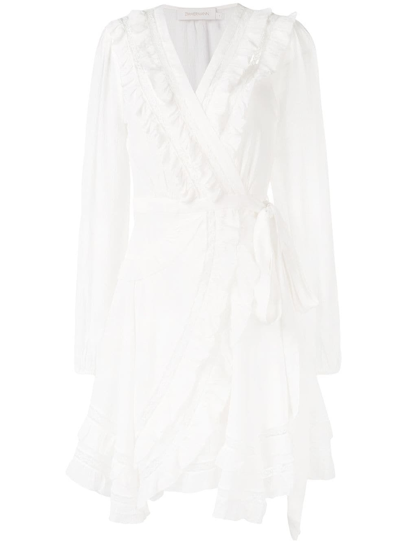 Zimmermann Moncur Frill Wrap Short Dress Dresses