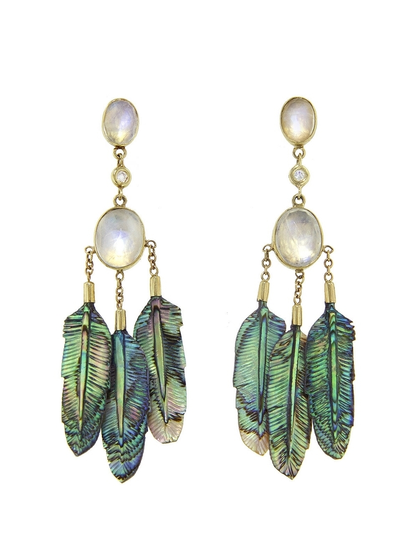Jacquie Aiche Jacquie Aiche Moonstone and Abalone Triple Feather Earrings - Yellow Gold Jewelry