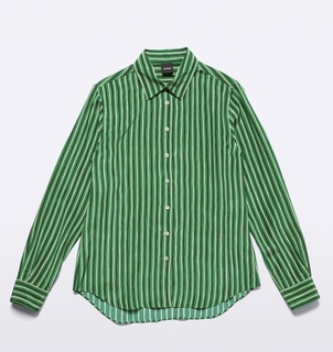 Aspesi Silk Shirt in Green Stripe Tops