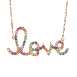 Sydney Evan Large Rainbow Love Necklace - Rose Gold
