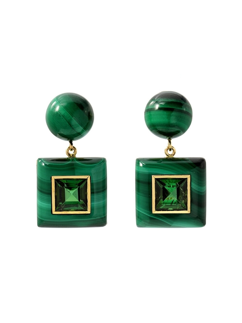 Retrouvai Retrouvaí Tourmaline and Malachite Lollipop Earrings - Yellow Gold Jewelry