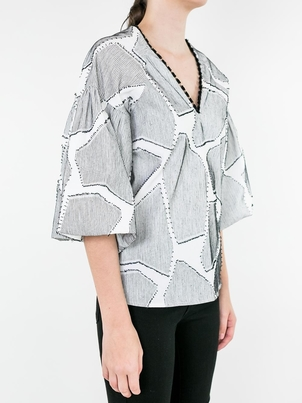 Hunter Bell Birdie Top Black and White Tops