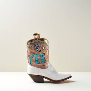 Miron Crosby Dana Mid Boot in Creme and Rose Gold Shoes