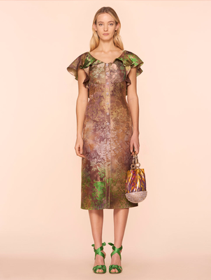 Peter Pilotto Metallic Ombre Jacquard Dress in Forest Dresses