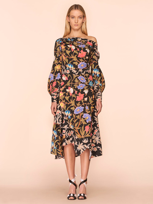 Peter Pilotto Off the Shoulder Top in Black Botanical Tops