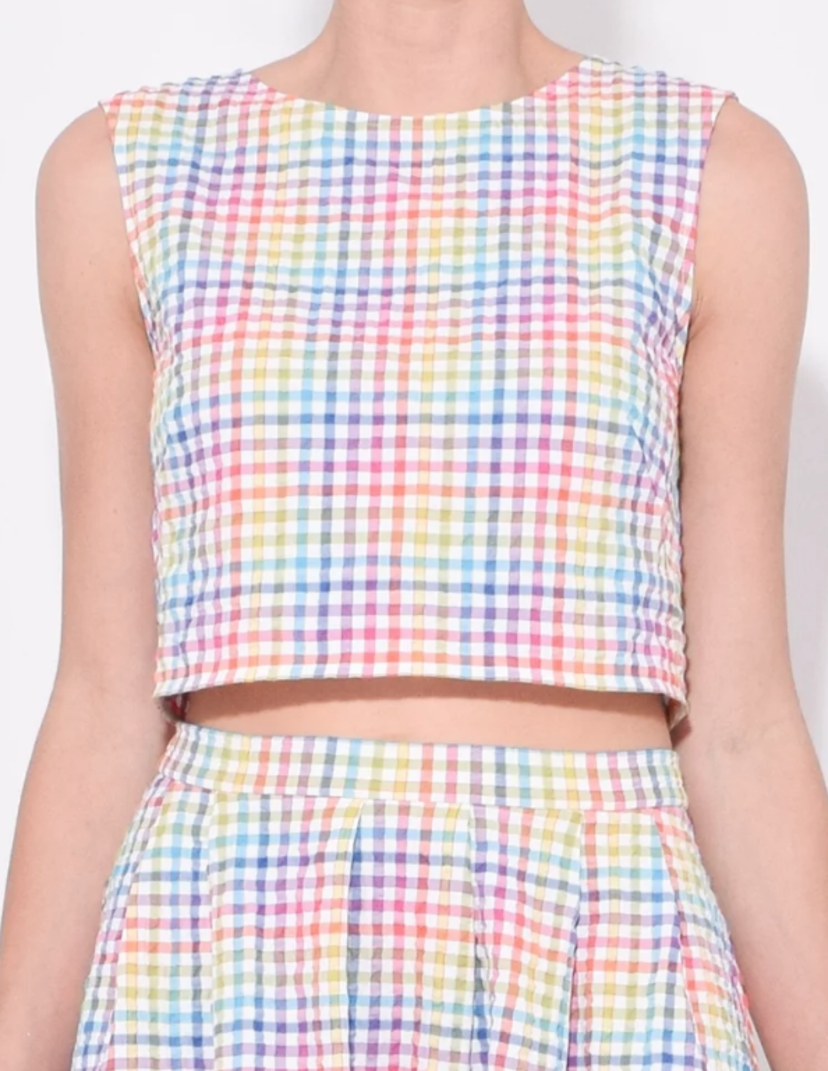 Saloni Rainbow Plaid Crop Top Tops
