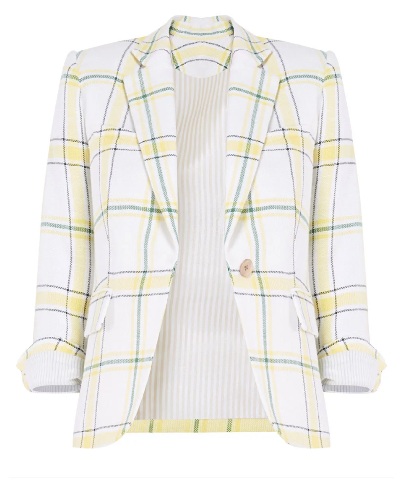 Veronica Beard Schoolboy Jacket - Yellow/Green Outerwear