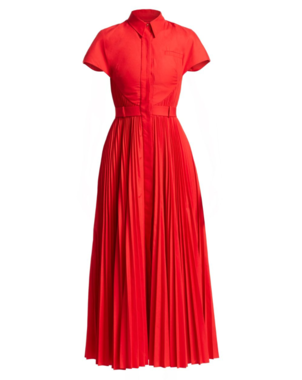 Brandon Maxwell Poplin Pleated Shirtdress Dresses