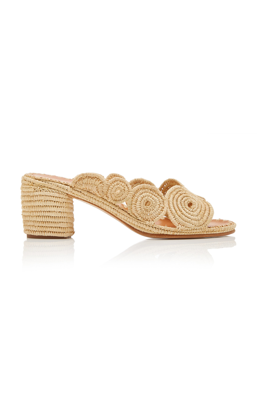 Carrie Forbes Natural Ayoub Raffia Mules Shoes