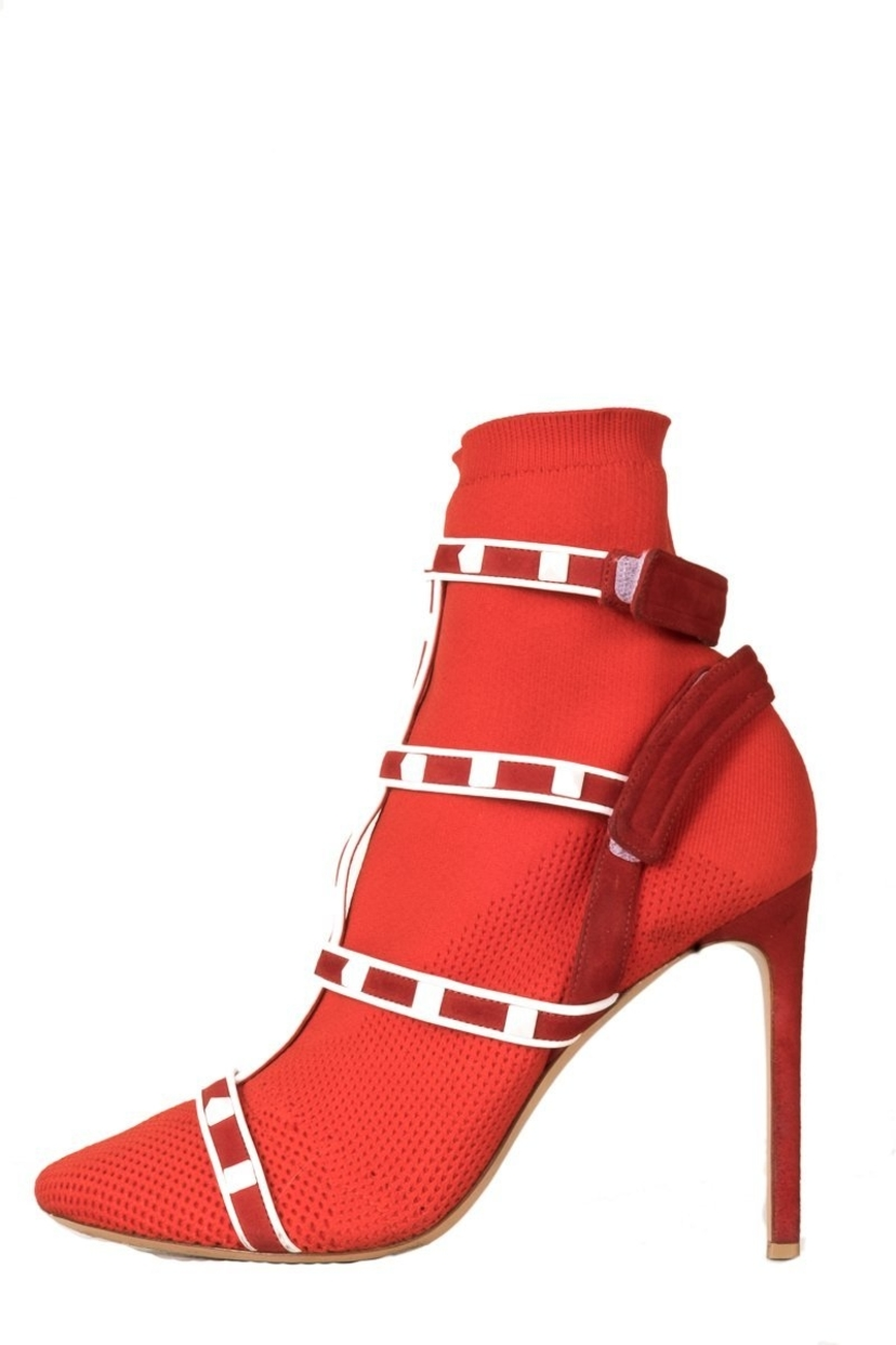 Valentino Red Knit Rockstud Sock Booties 40 | House Account