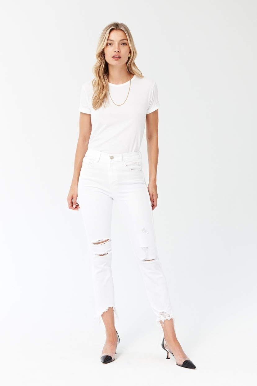 3x1 High Rise Straight Authentic Crop - Distressed White Pants