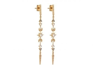 Celine Daoust Moonstones and Diamonds Long Chain Earrings with Moon & Sun Details Jewelry