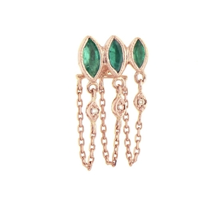 Celine Daoust Triple Marquise Emerald and Diamond Chain Earrings Jewelry
