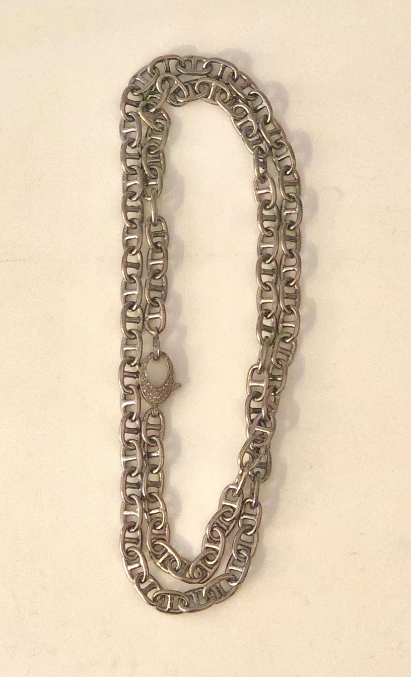 The Woods Fine Jewelry Long Silver Link Necklace Jewelry