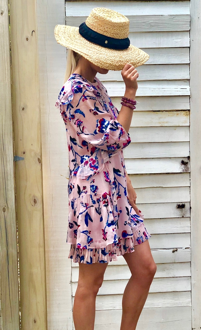 Tanya Taylor Pink Floral Delfina Dress Dresses
