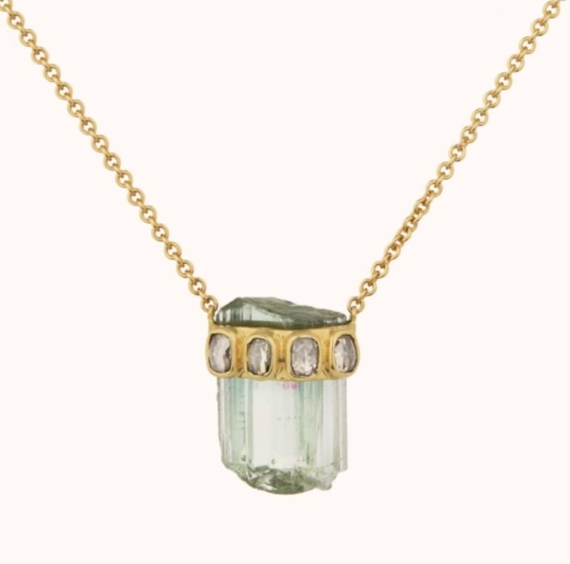 48db8f6e379 Celine Daoust Rough Pencil Tourmaline with Polki Diamond Necklace Jewelry