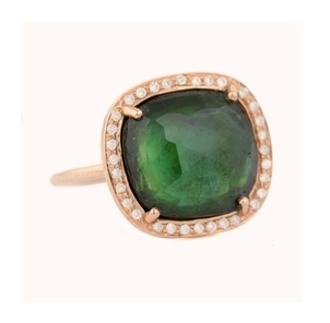 Celine Daoust Stella Tourmaline and Diamond Ring in Rose Gold Jewelry