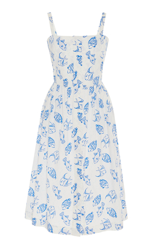 HVN Laura Dress in Blue Fish Print Dresses