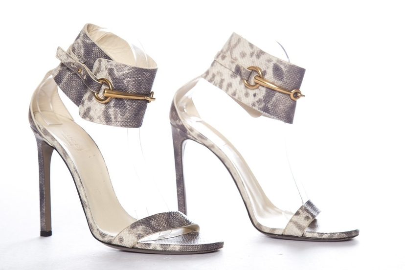 Gucci Gucci Gray Embossed Leather Sandals SZ 39.5 Shoes