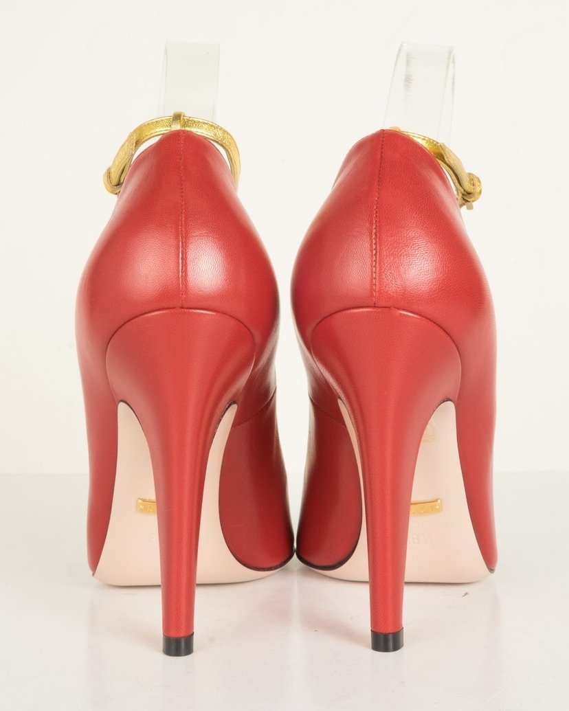Gucci Gucci Red Molina T-Strap Heels 36.5 Sale Shoes