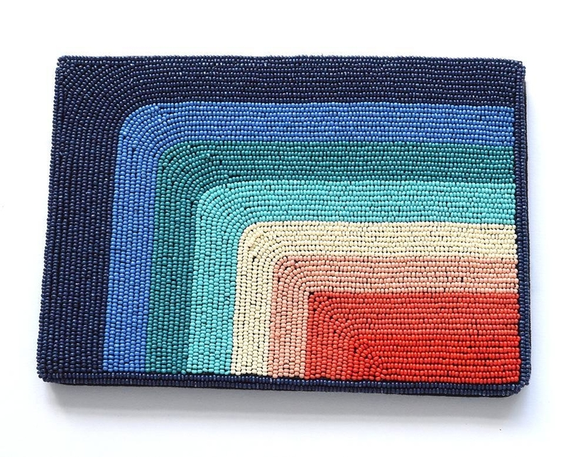 Ink+Alloy Blue to Red Rainbow Beaded Clutch Bags