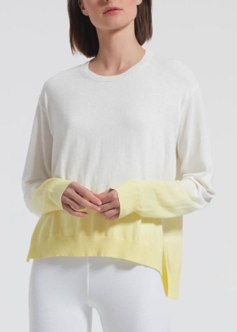 ATM Collection ATM Boxy Dip Dye Crew Neck Sweater in Lemon Tops