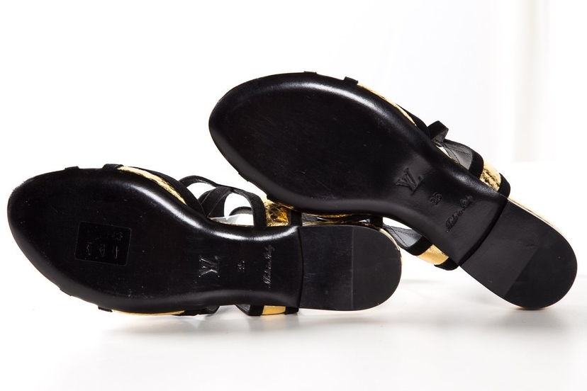 Louis Vuitton Louis Vuitton Black & Gold Metallic Snake Flat Sandals SZ 35 Sale Shoes