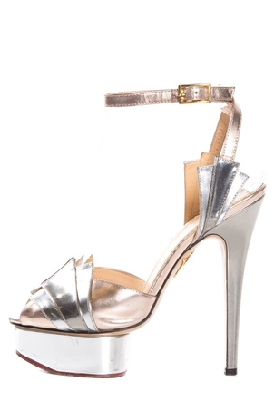 Charlotte Olympia Charlotte Olympia Silver & Gold Peep Toe Platforms SZ 36.5 Sale Shoes