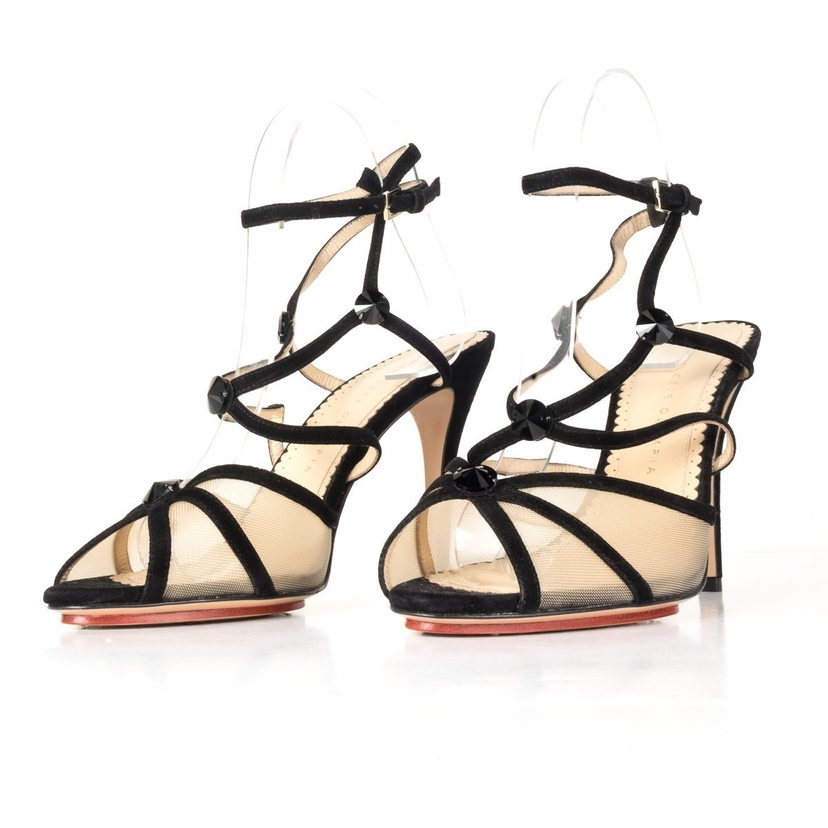 Charlotte Olympia Charlotte Olympia Black and Mesh Open Toe Heels 39.5 Shoes