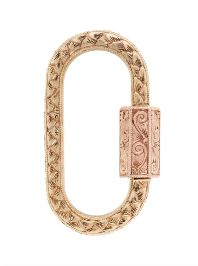 Marla Aaron Marla Aaron Hand Engraved Lock in Yellow & Rose Gold Jewelry