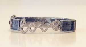 Mari Max Diamond 'Love' Python Bangle - Dark Navy Jewelry
