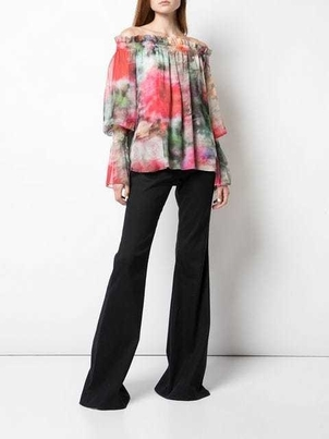 Adam Lippes Floral Print Off Shoulder Top Tops