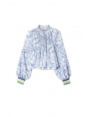 Tibi Isa Toile on Poly Cropped Edwardian Top with Rib Tops