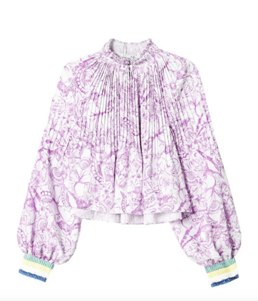 Tibi Isa Toile on Poly Cropped Edwardian Top with Rib Sale Tops