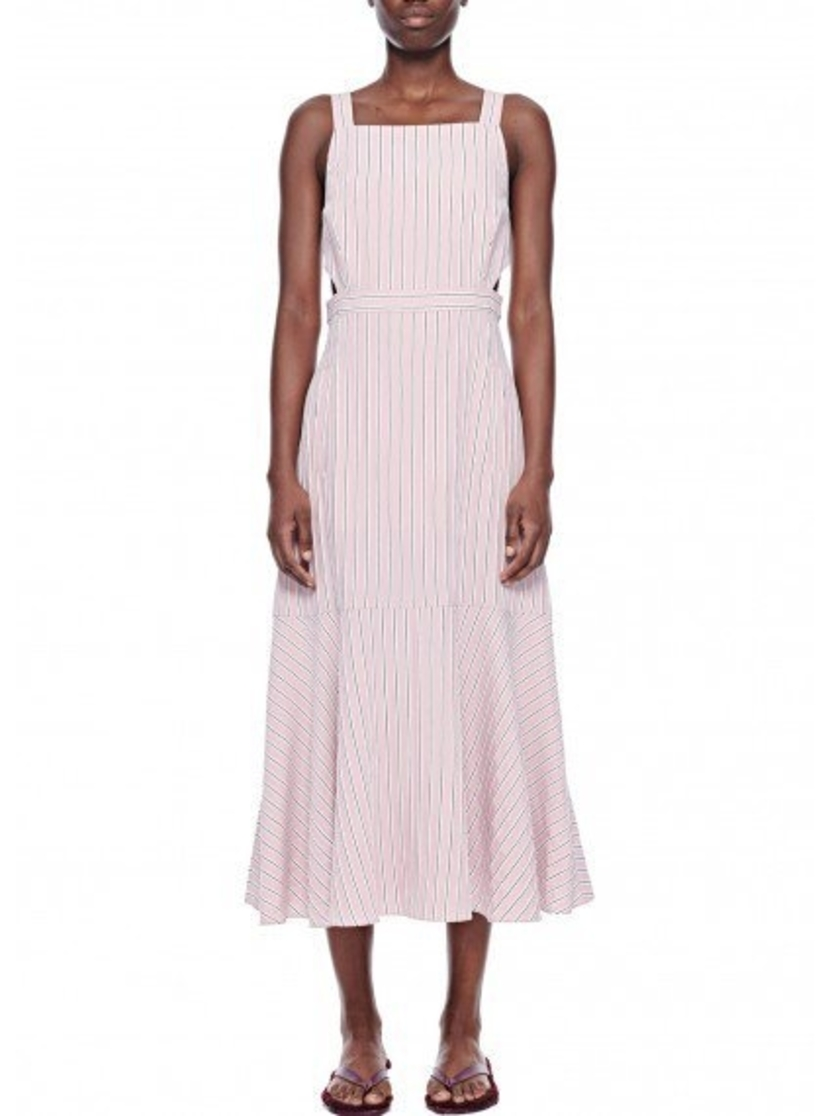 Tibi Tibi Stripe Viscose Twill Strappy Dress Dresses