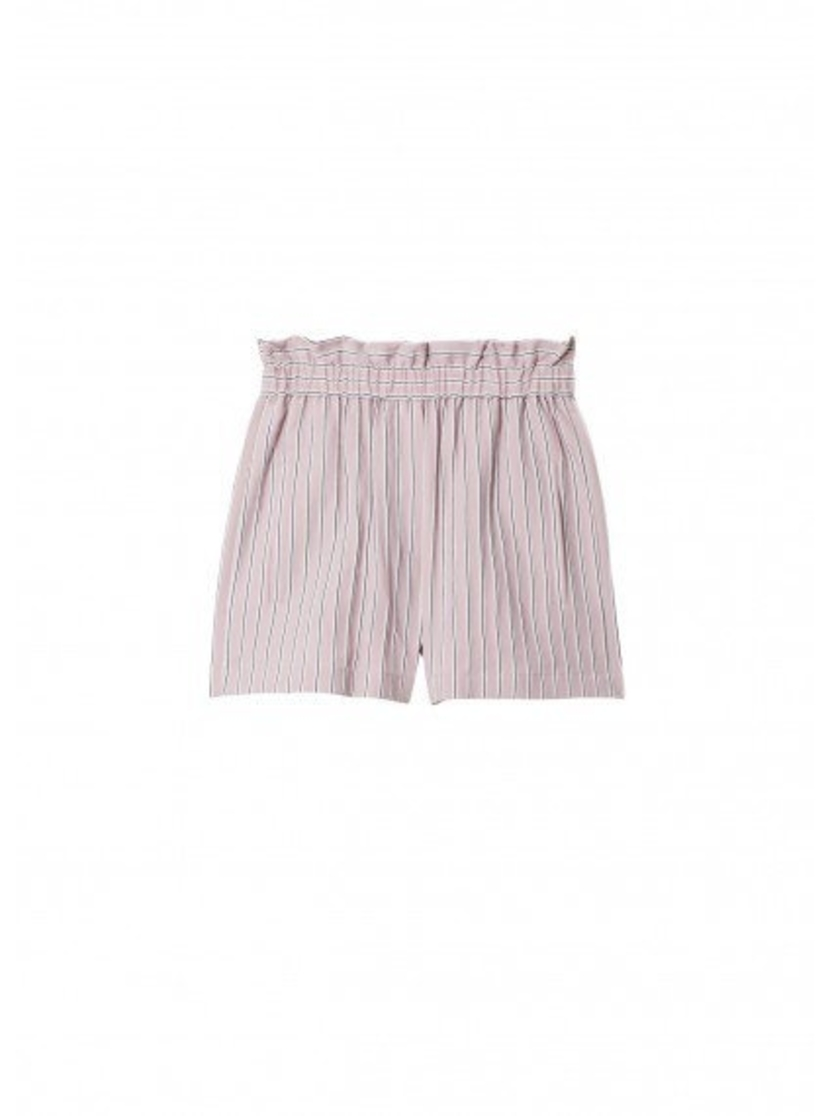 Tibi Tibi Stripe Viscose Twill Pull On Short Shorts