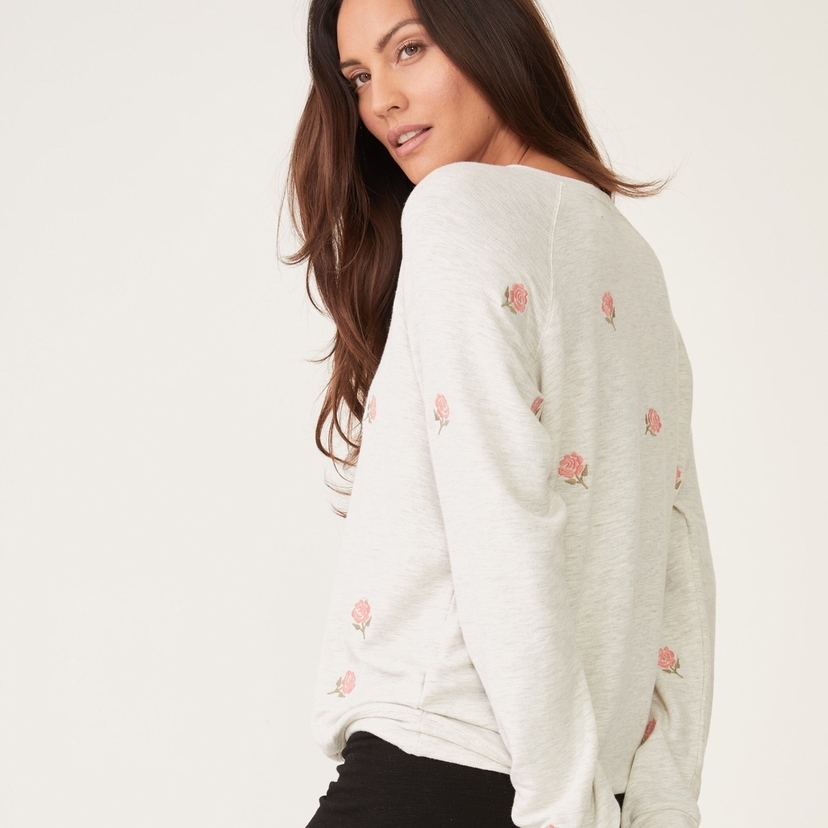 MONROW Supersoft Embroidered Rose Raglan Tops