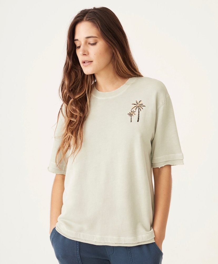 MONROW Palm Short Sleeve Sweatshirt  Tops