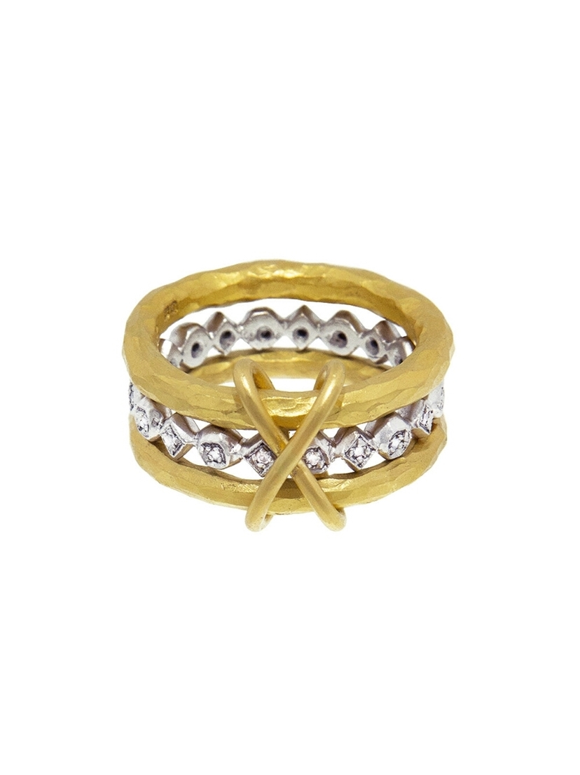 Cathy Waterman Cathy Waterman Bead and Diamond XO Triple Band Ring Jewelry