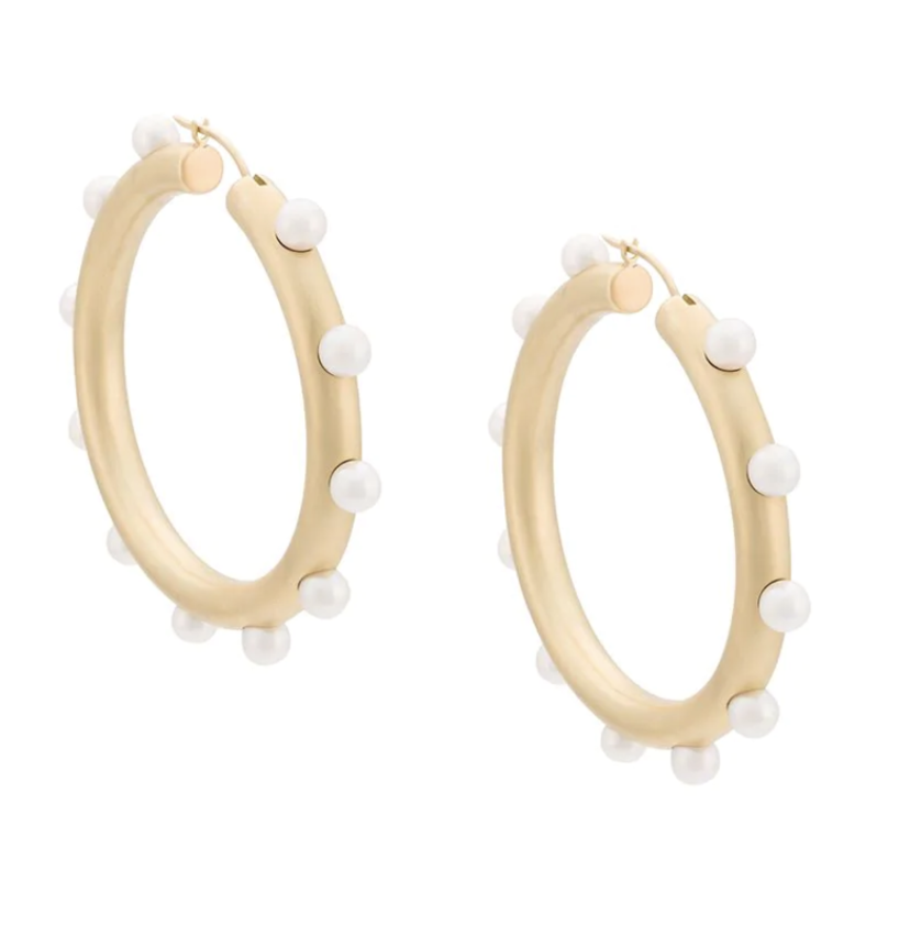 Irene Neuwirth Pearl Embellished Hoops Gifts Jewelry