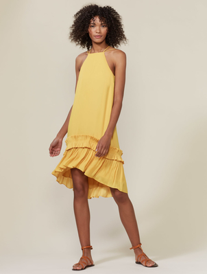 Halston Heritage SLV DRESS PLEATED RUFFLE HEM