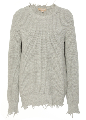 Michael Kors Collection Frayed Crewneck Sweater Tops