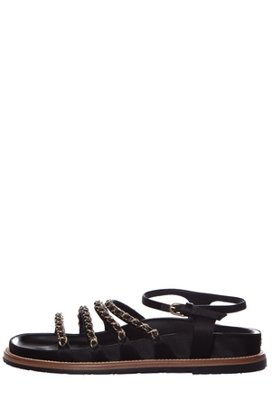Chanel Chanel Black & Gold Tone Chain Link Leather Sandals SZ 40 Shoes