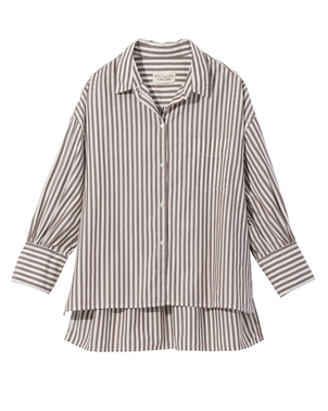 Nili Lotan Lonnie Shirt - Brown Stripe Tops