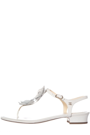 Chanel Chanel Ivory Leather Camilla Sandals SZ 39 Shoes