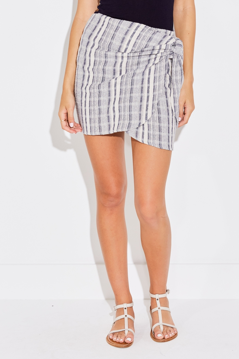 the lady  & the sailor WRAP MINI SKIRT IN NAVY JACQUARD STRIPE Skirts